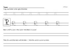 How to write cursive uppercase R workbook.