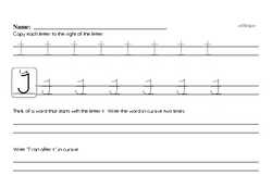 How to write cursive uppercase T workbook.