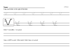 How to write cursive uppercase V workbook.