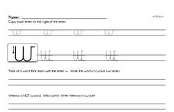 How to write cursive uppercase W workbook.