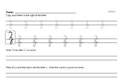 How to write cursive uppercase Z workbook.