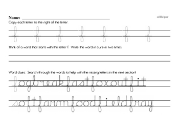 Lowercase Cursive Writing Challenge Book