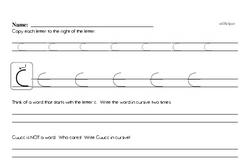 How to write cursive uppercase C workbook.