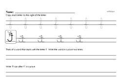 How to write cursive uppercase F workbook.