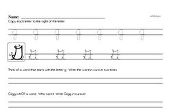 How to write cursive uppercase G workbook.