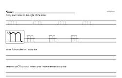 How to write cursive uppercase M workbook.