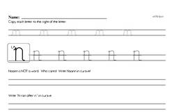 How to write cursive uppercase N workbook.