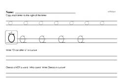 How to write cursive uppercase O workbook.