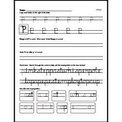 How to write cursive uppercase P workbook.