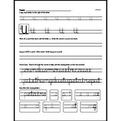 How to write cursive uppercase U workbook.
