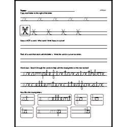 How to write cursive uppercase X workbook.