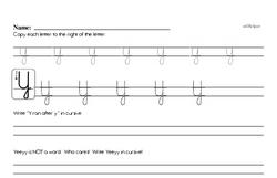 How to write cursive uppercase Y workbook.