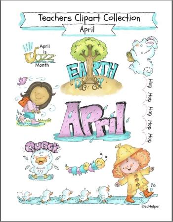 Teacher Clipart for April Bulletin Boards or Worksheets