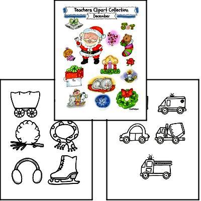 Teacher Clipart for December Bulletin Boards or Worksheets