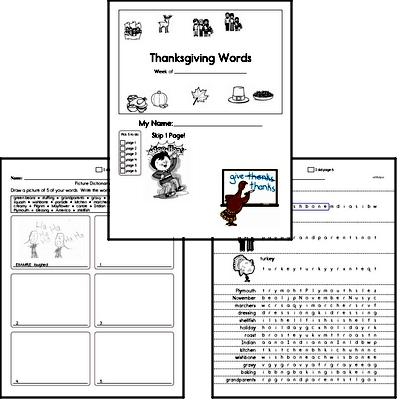 1st Grade Thanksgiving No Prep Spelling Book