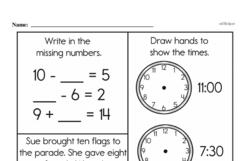 Free 1.OA.A.1 Common Core PDF Math Worksheets Worksheet #262