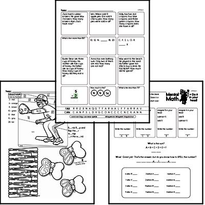Addition - Addition within 5 Mixed Math PDF Workbook for First Graders