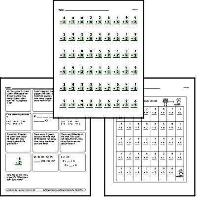 Addition Mixed Math PDF Workbook for First Graders