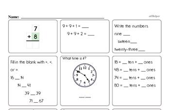 Start of the Year First Grade Math Assessments
