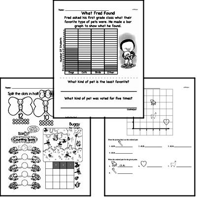 Data Mixed Math PDF Workbook for First Graders