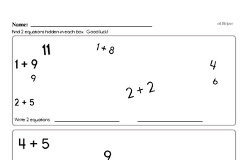 Addition and Subtraction Equation Matching Game