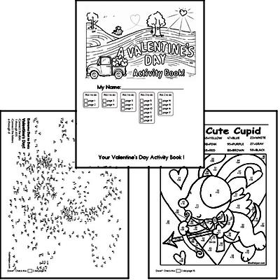 First Grade Valentine's Day Worksheets Activity Book (more challenging)
