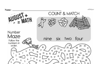 Fractions - Fractions and Parts of a Set Mixed Math PDF Workbook for First Graders