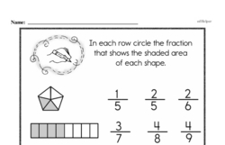 Free Fraction PDF Math Worksheets Worksheet #134
