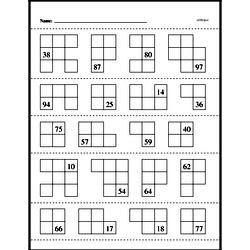 Mix of Addition and Subtraction of 1 or 10 (partial hundreds chart on top of page)