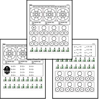 Mad Minute Timed Addition Math Drill Pages for First Graders (Addition of +2 to +9)