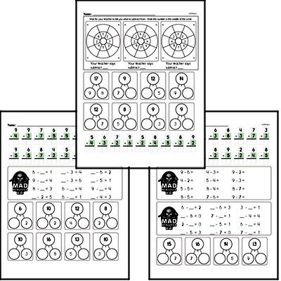 Mad Minute Timed Subtraction Math Drill Pages for First Graders (Subtraction of -2 to -9)