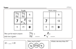 First Grade Math Challenges Worksheets - Puzzles and Brain Teasers Worksheet #1