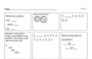 Math Facts Practice Mixed Math PDF Workbook for First Graders