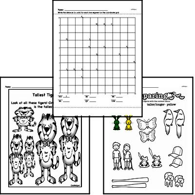 Measurement - Length Mixed Math PDF Workbook for First Graders