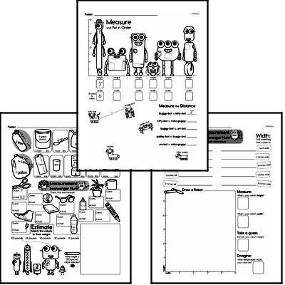 Measurement - Measurement Tools Mixed Math PDF Workbook for First Graders