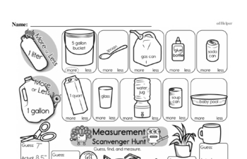Measurement Mixed Math PDF Workbook for First Graders