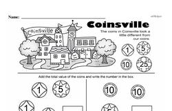 First Grade Money Math Worksheets - Adding Groups of Coins Worksheet #11