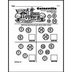 First Grade Money Math Worksheets - Adding Groups of Coins Worksheet #26