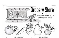 First Grade Money Math Worksheets - Adding Groups of Coins Worksheet #12