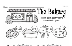 First Grade Money Math Worksheets - Adding Groups of Coins Worksheet #10