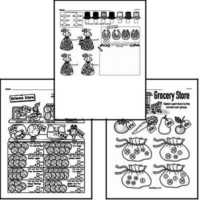 Money Math - Adding Groups of Coins Mixed Math PDF Workbook for First Graders
