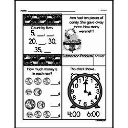 First Grade Money Math Worksheets - Adding Groups of Coins Worksheet #13