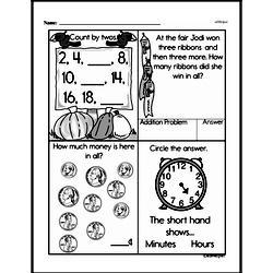First Grade Money Math Worksheets - Adding Groups of Coins Worksheet #6