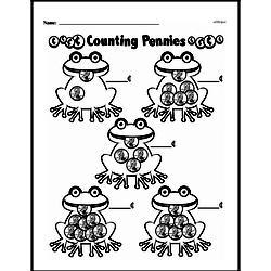 First Grade Money Math Worksheets - Adding Groups of Coins Worksheet #2