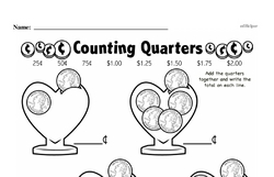 First Grade Money Math Worksheets - Adding Groups of Coins Worksheet #17