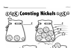 First Grade Money Math Worksheets - Adding Groups of Coins Worksheet #7