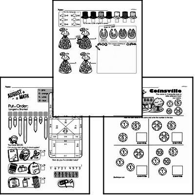 Money Math - Adding Money Mixed Math PDF Workbook for First Graders