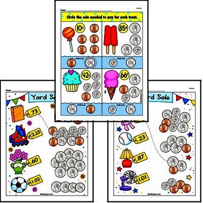 First Grade Money Math Worksheets - Adding Money Worksheet #1