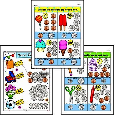 First Grade Money Math Worksheets - Adding Money Worksheet #3