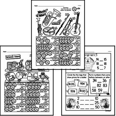 Money Math - Money Word Problems Mixed Math PDF Workbook for First Graders